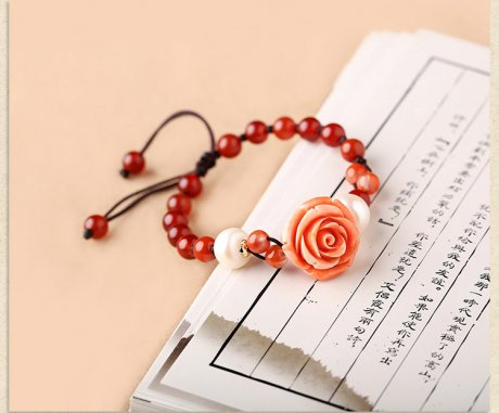 复古文艺玛瑙花朵红色手串