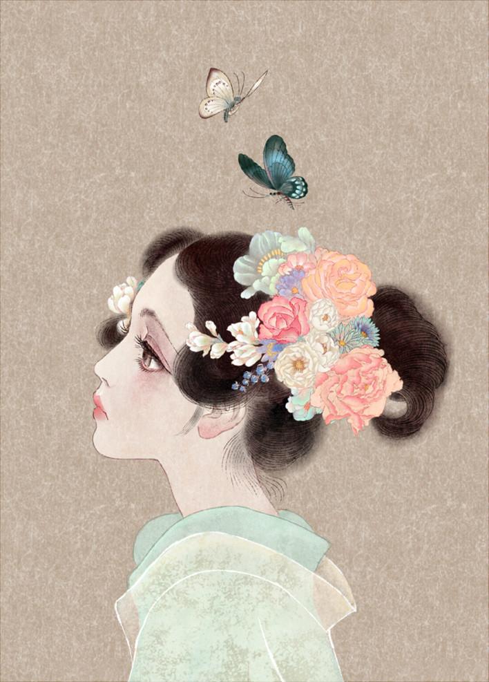 唯美中国风女子手绘插画