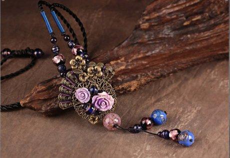 淡紫幻嫣复古玫瑰花朵毛衣链项