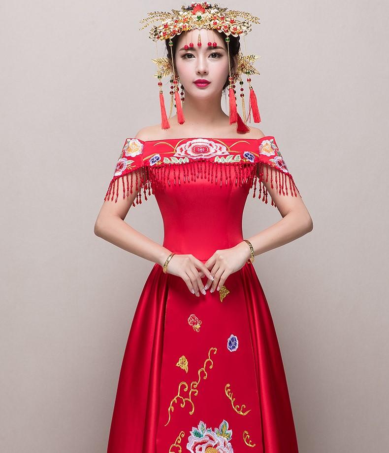 古装图片女装汉服_性感一字肩中式礼服,刺绣流苏新娘礼服- 中国风