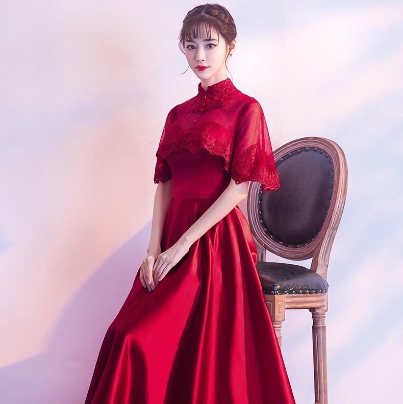 中式婚礼之新娘发型_蕾丝披肩中式礼服,甜美中国风晚礼服- 中国风