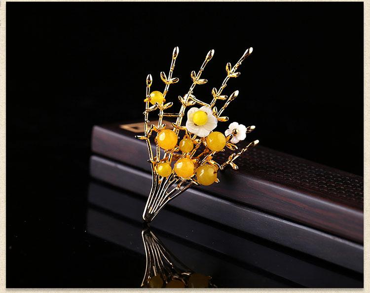 黄玛瑙中国风气质胸针,唯美清新复古胸花
