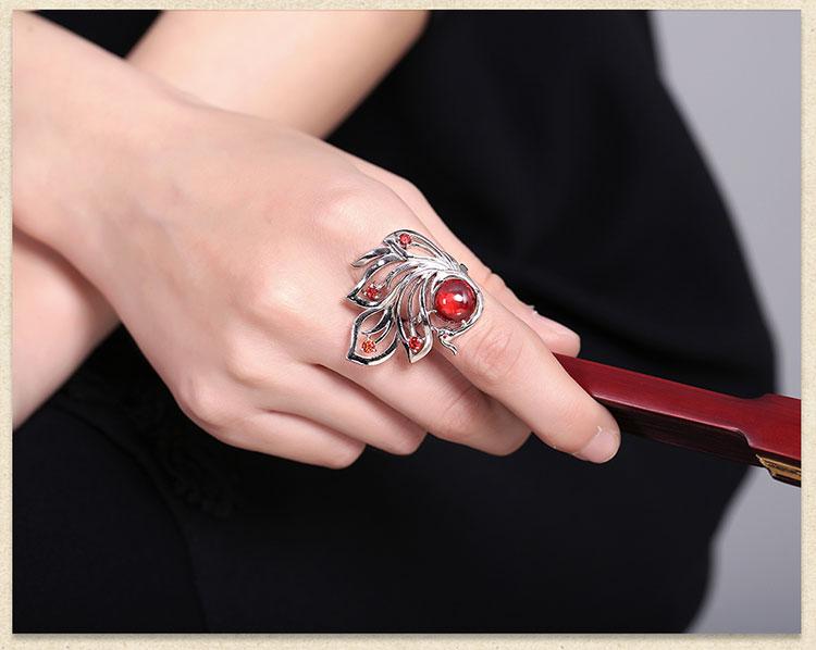 中国风锆石夸张银戒指