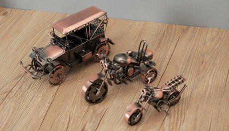 复古手工铁艺摩托车创意工艺品