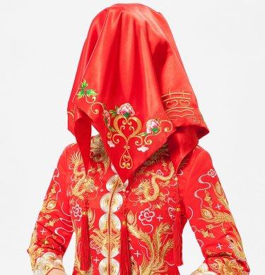 牡丹花绣边红色流苏喜帕新娘结