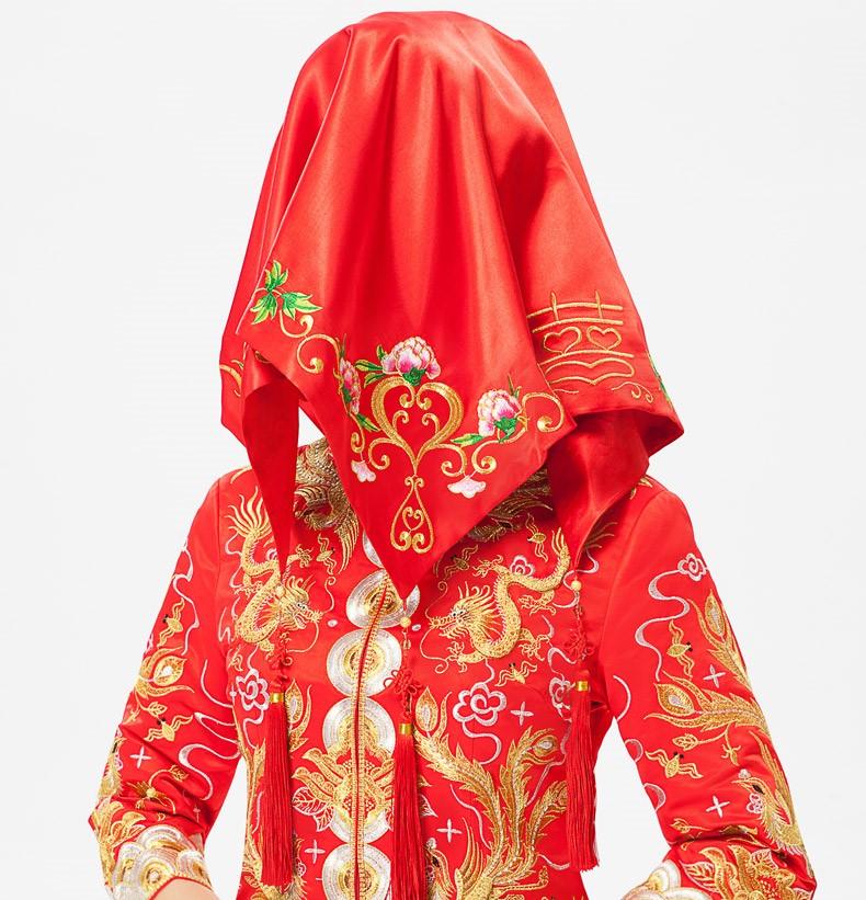 牡丹花绣边红色流苏喜帕新娘结婚盖头