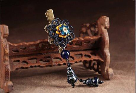 中国风花朵复古陶瓷吊坠发夹头