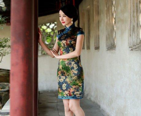繁花似锦古典短袖旗袍裙