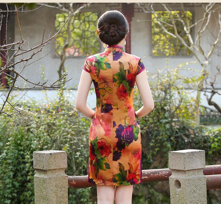 娇艳花朵时尚古典短袖旗袍裙