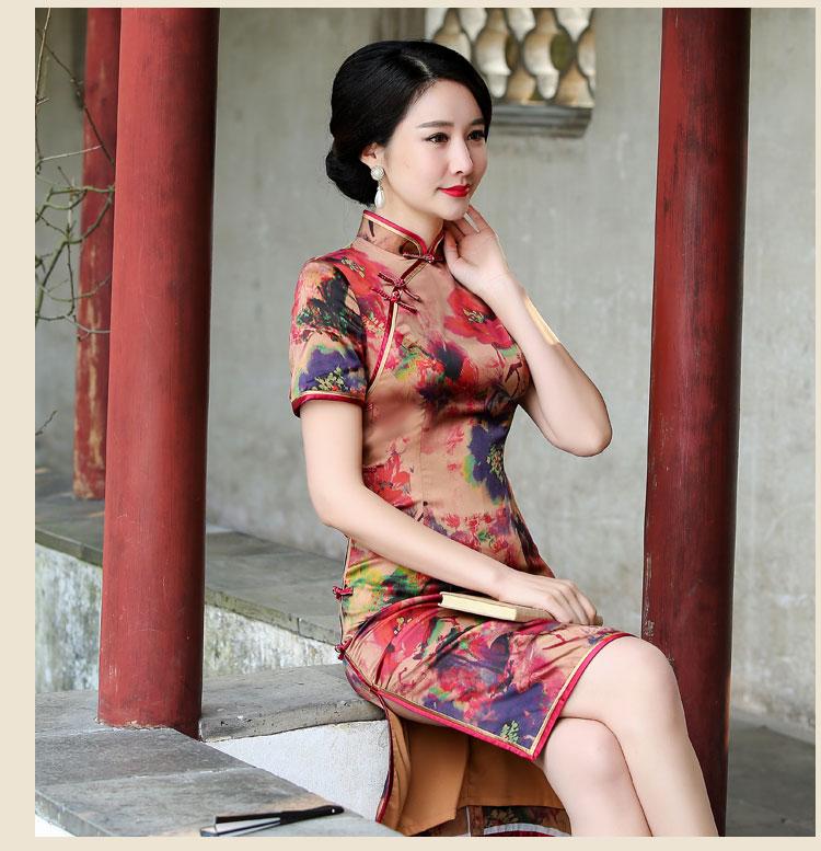 气质典雅绣帘卷复古短袖旗袍裙