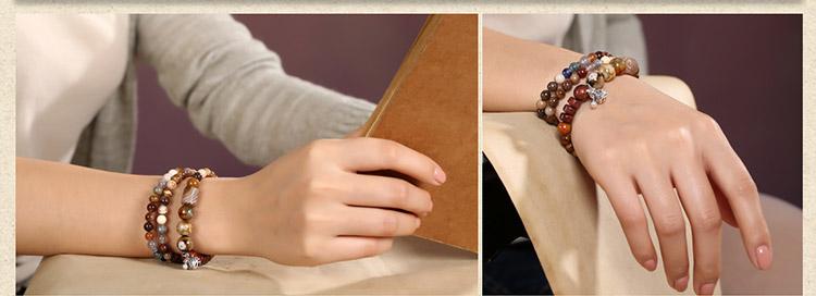 时尚复古文艺多圈玛瑙木化石手串