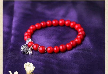 个性本命年红色珠子民族风纯银
