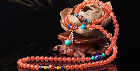 樱桃红玛瑙水晶手链,多圈南红
