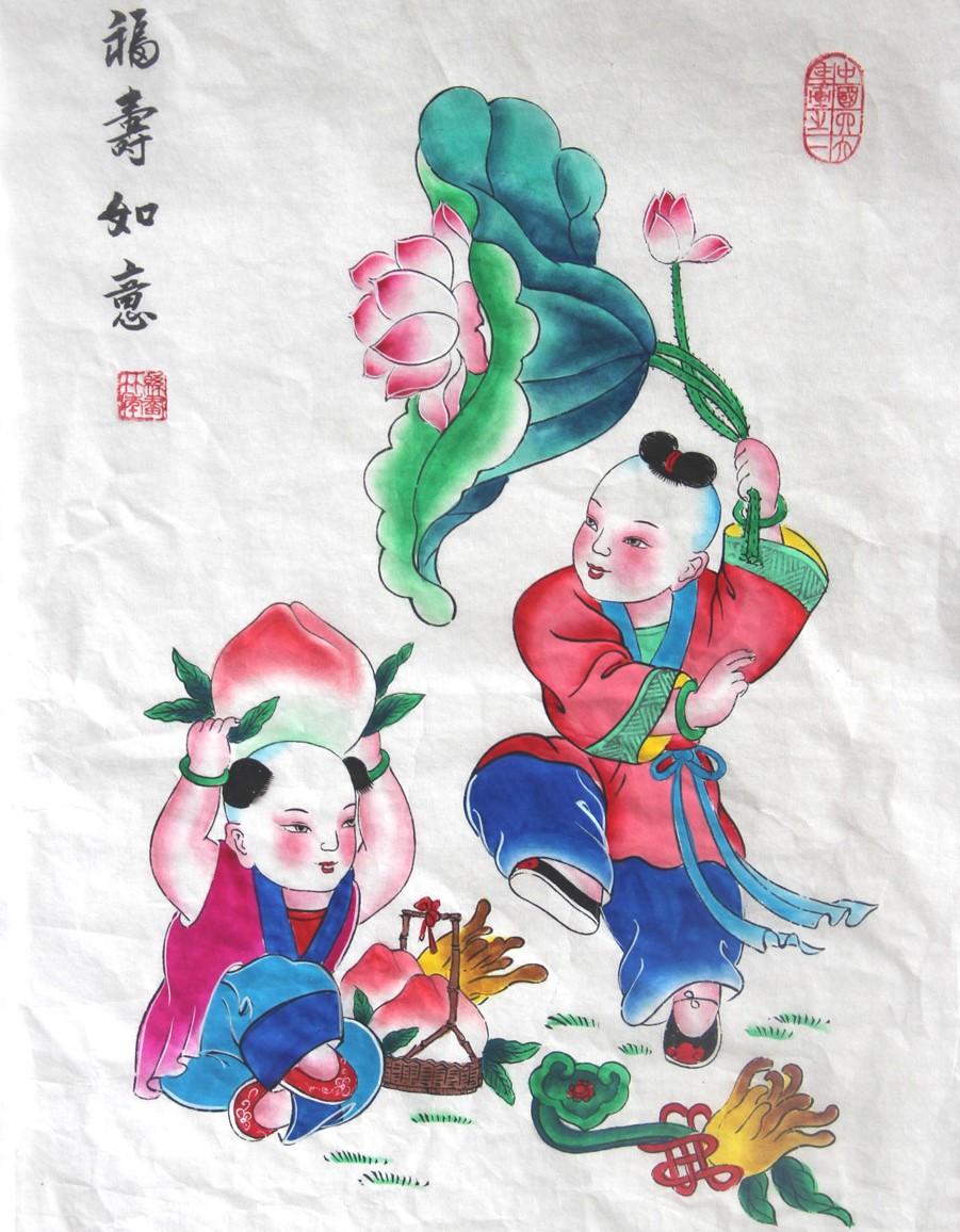 10款唯美生动年画娃娃,古风手绘中国年画
