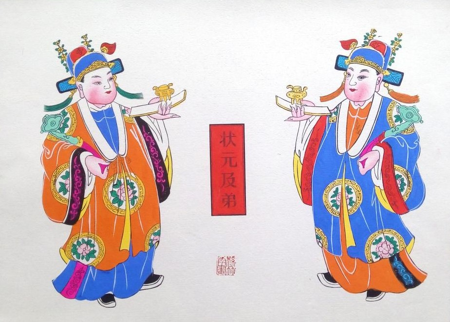 唯美生动门神年画,古风手绘中国年画