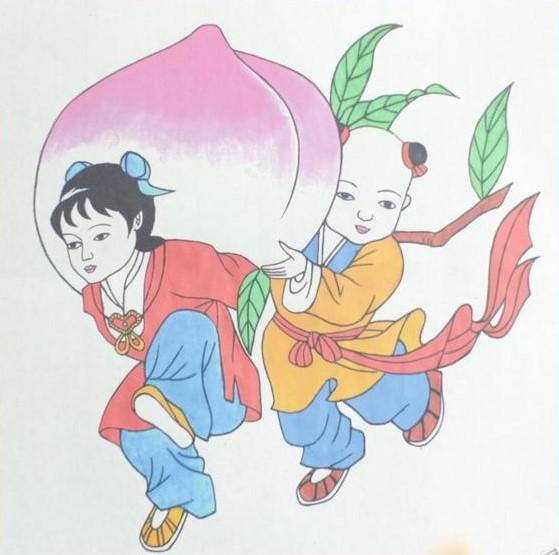 十款民间工艺年画,古风手绘童趣中国年画