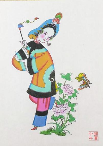 五款民间工艺年画,手绘仕女木版年画
