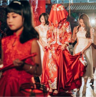 最美中国风中式礼服新娘,中式婚