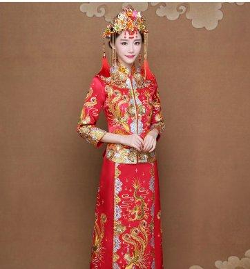 龙凤褂新娘礼服,唯美刺绣中式礼