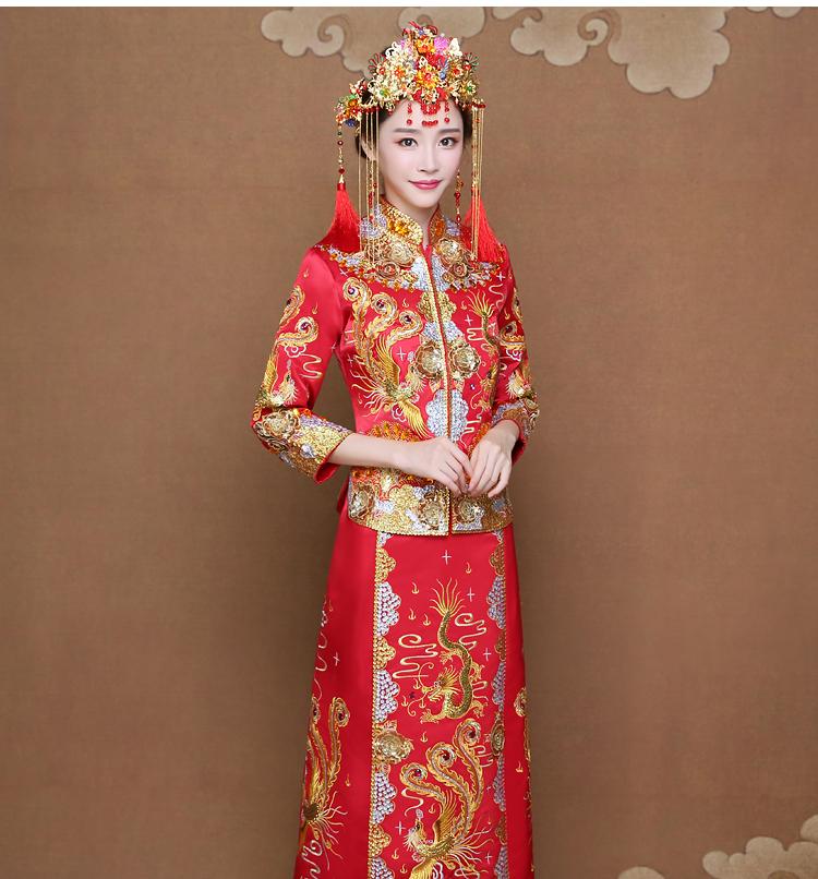 龙凤褂新娘礼服,唯美刺绣中式礼服