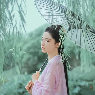 柳下紫衣带伞头像,唯美古风真人头像