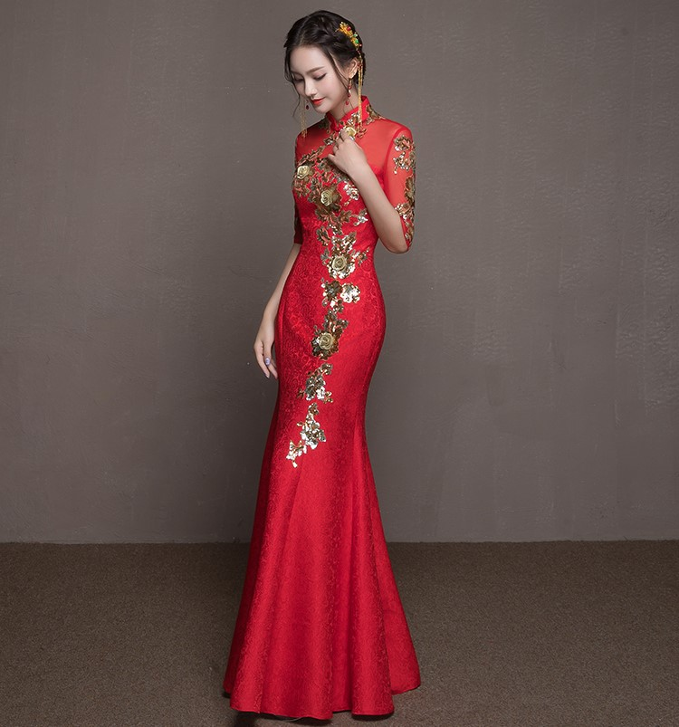 中式婚礼之新娘发型_金枝玉叶中式礼服,鱼尾牡丹花晚礼服- 中国风