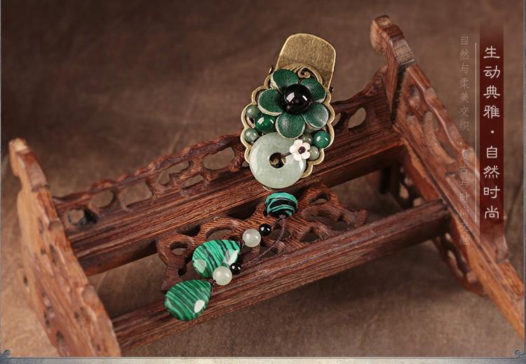 碧水花涵绿色鸭嘴夹,牛皮花朵发夹头饰
