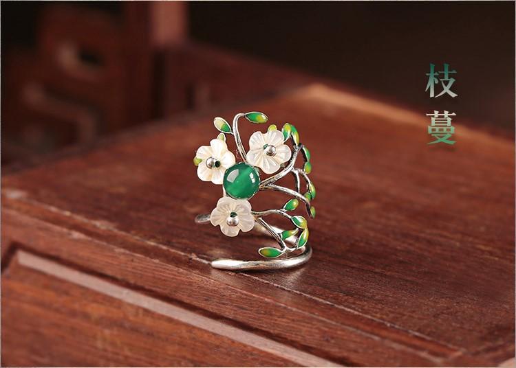 古风枝曼925纯银戒指开口指环饰品