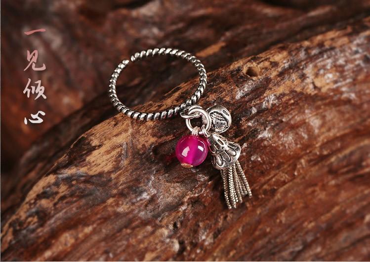 一见倾心民族风藏银戒指开口流苏指环首饰