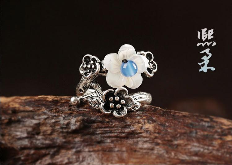 小清新贝壳花银戒指开口指环首饰