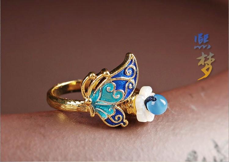 中国风景泰蓝熙梦戒指开口指环首饰