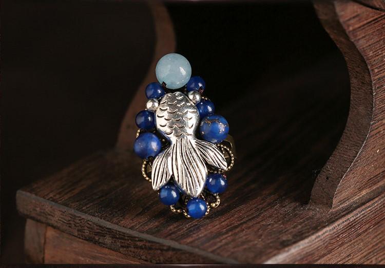 古风开口戒指首饰:一尾游鱼绕留指尖
