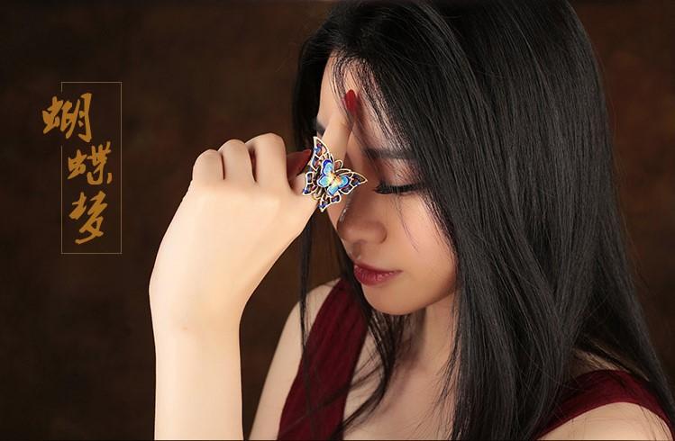 古典灵动传神蝴蝶戒指开口指环首饰