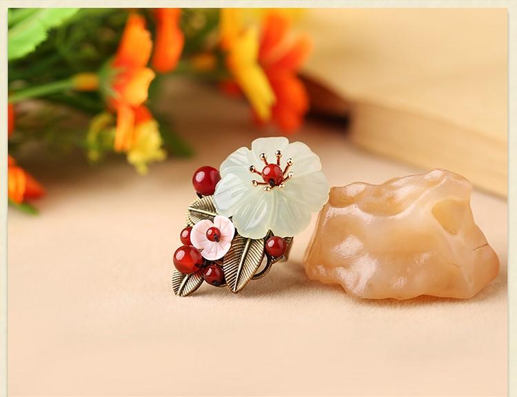 岫玉花朵民族风开口戒指饰品