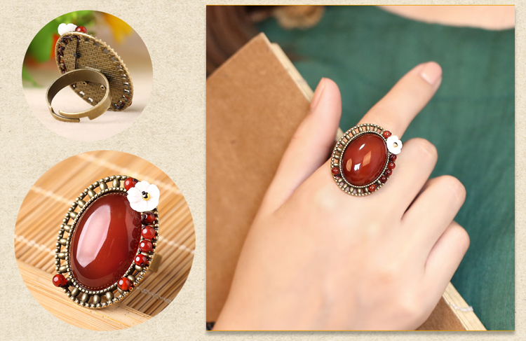 中国风大气红玛瑙开口戒指饰品