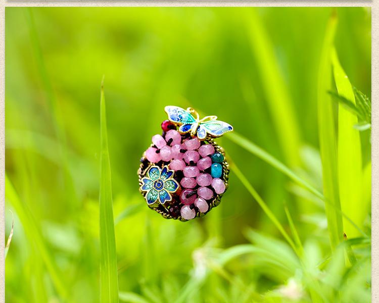 时尚个性彩玉景泰蓝开口戒指饰品