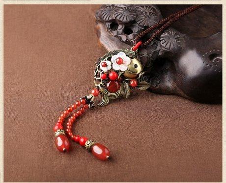 红色气质古风贝壳花毛衣链项链