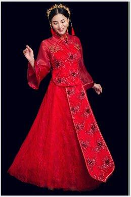 蕾丝古风中式礼服:花漓珠花新