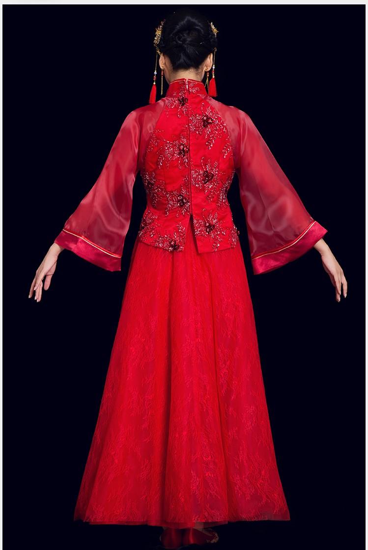 蕾丝古风中式礼服:花漓珠花新娘礼服