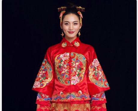 金玉良缘中式礼服,凤穿牡丹新