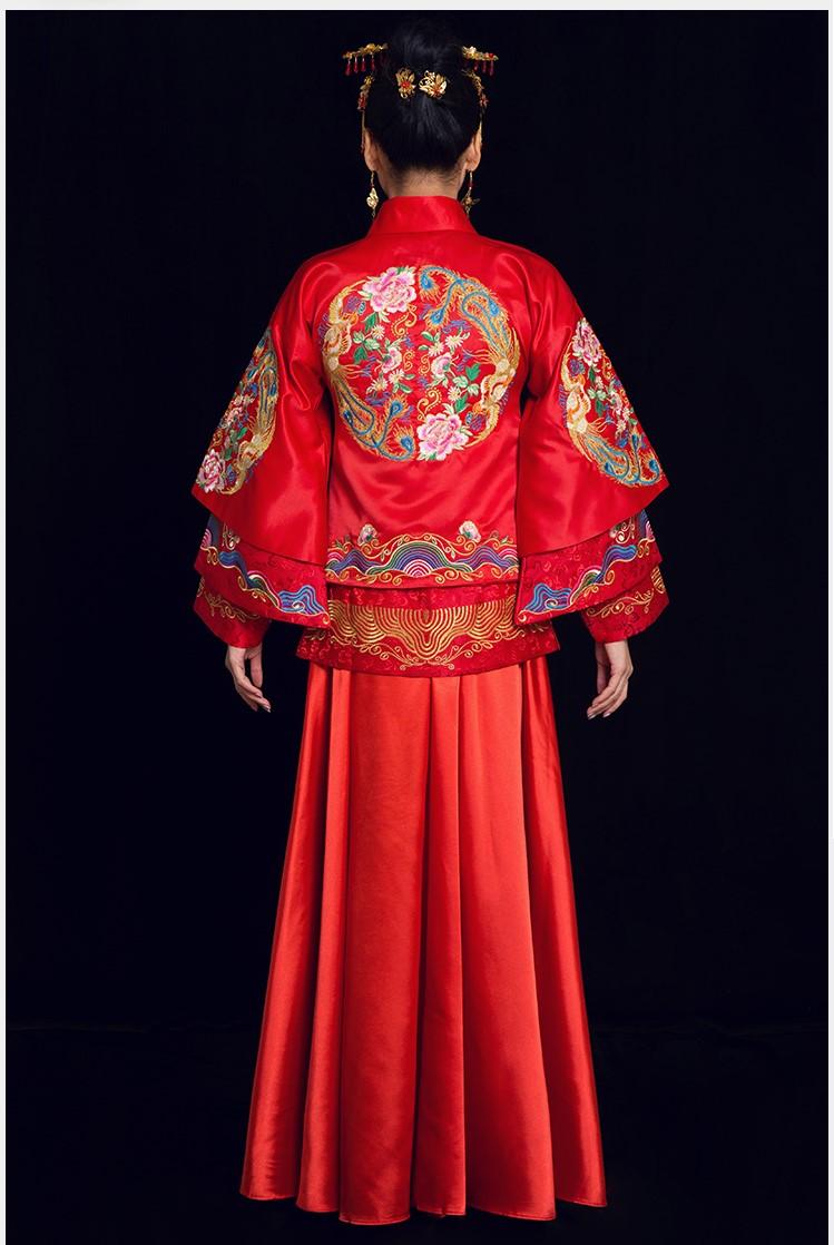 金玉良缘中式礼服,凤穿牡丹新娘礼服