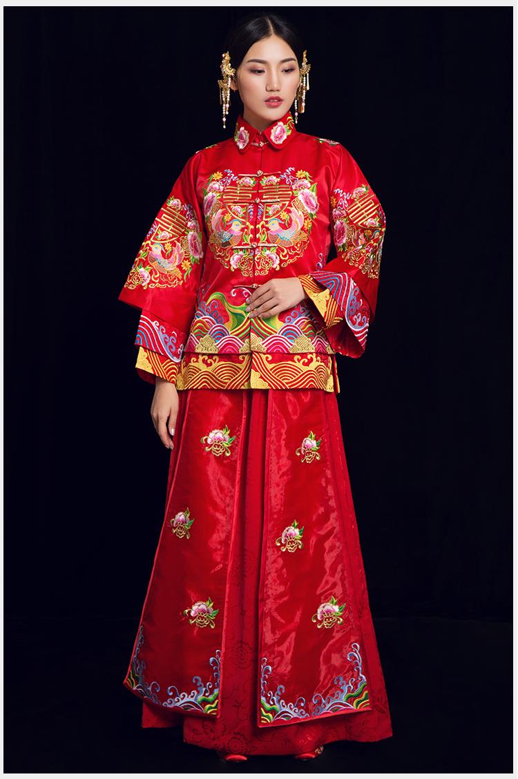 中式婚礼之新娘发型_喜缔鸳鸯中式礼服,喜字鸳鸯刺绣新娘礼服- 中国风
