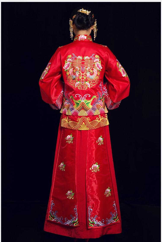 喜缔鸳鸯中式礼服,喜字鸳鸯刺绣新娘礼服
