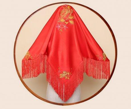 繁缕中式头饰红盖头,唯美流苏