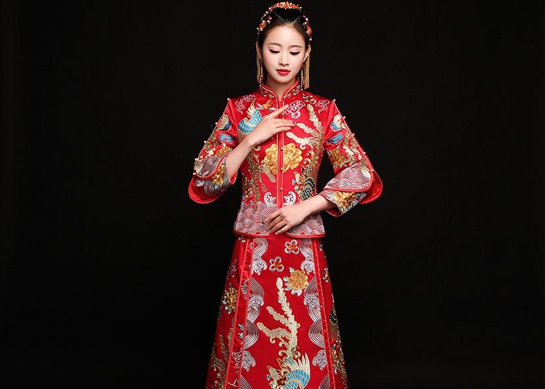 高贵华美中式礼服,秀禾龙凤褂新娘礼服