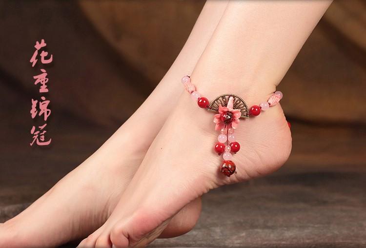 中国风红色脚链花重锦冠饰品