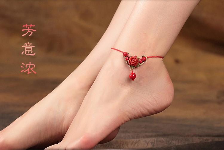 红色玫瑰花脚链复古中国风饰品