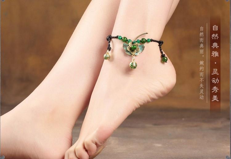 典雅翠绿银杏叶脚链复古铃铛饰品