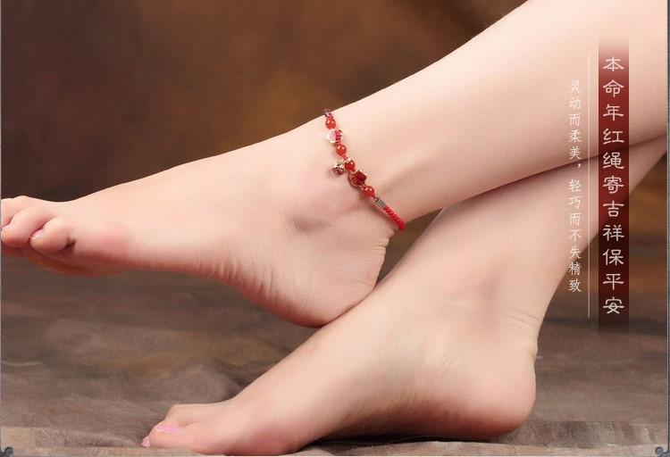红色简约脚链本命年铃铛饰品