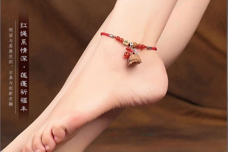 桃木莲蓬红绳脚链简约复古饰品